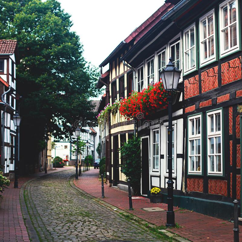 View of Hameln old town with market square and traditional german houses, Lower Saxony, Germany royalty free stock image