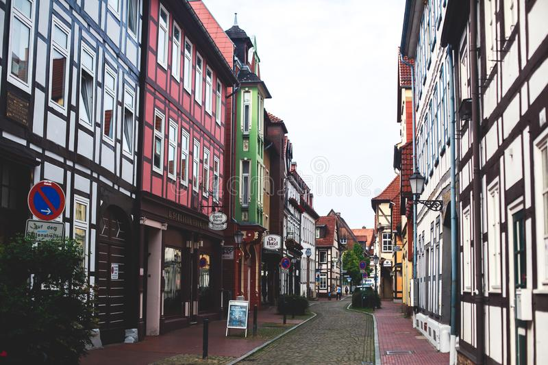 View of Hameln old town with market square and traditional german houses, Lower Saxony, Germany stock image