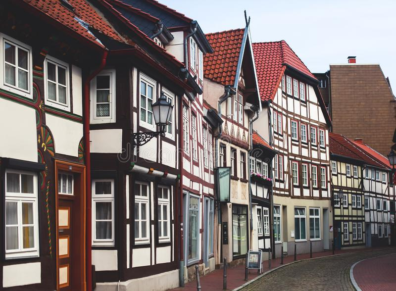 View of Hameln old town with market square and traditional german houses, Lower Saxony, Germany royalty free stock photography
