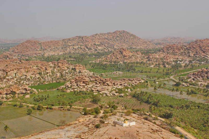 View of Hampi from top of Hanuman temple, India royalty free stock photos