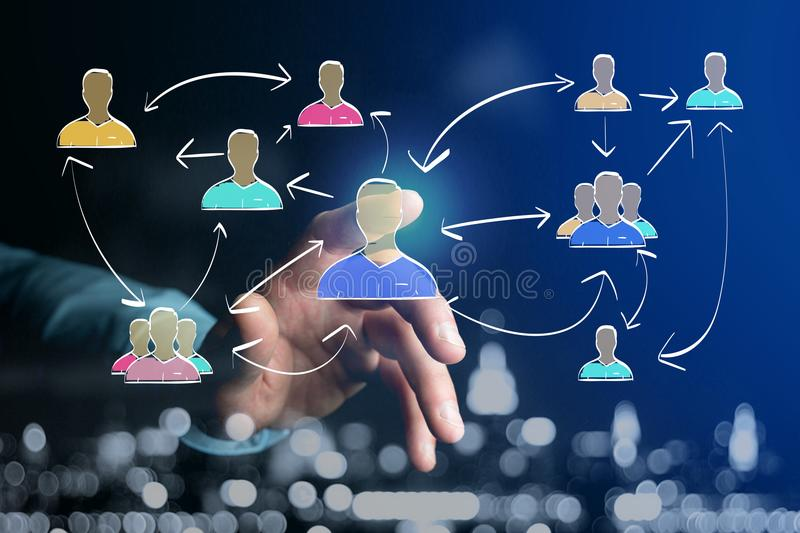 Hand drawn network interaction with different group of people on. View of a Hand drawn network interaction with different group of people on a futuristic stock photo
