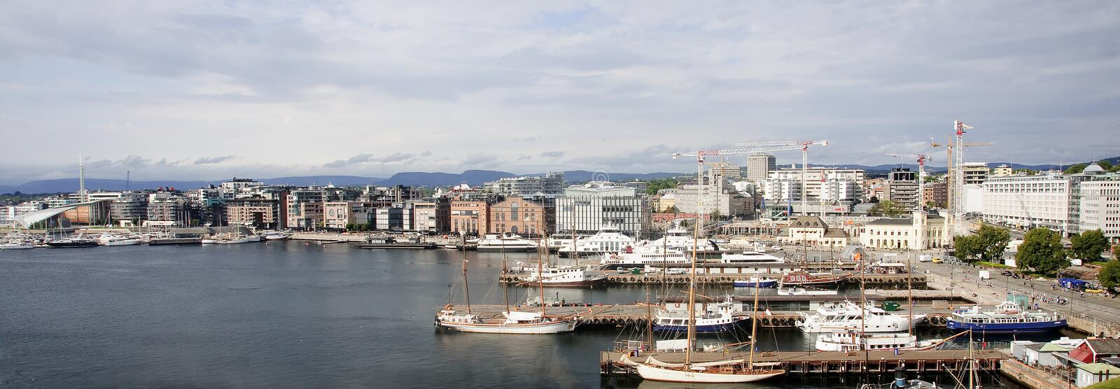 View of the harbor in the center of Oslo stock photo