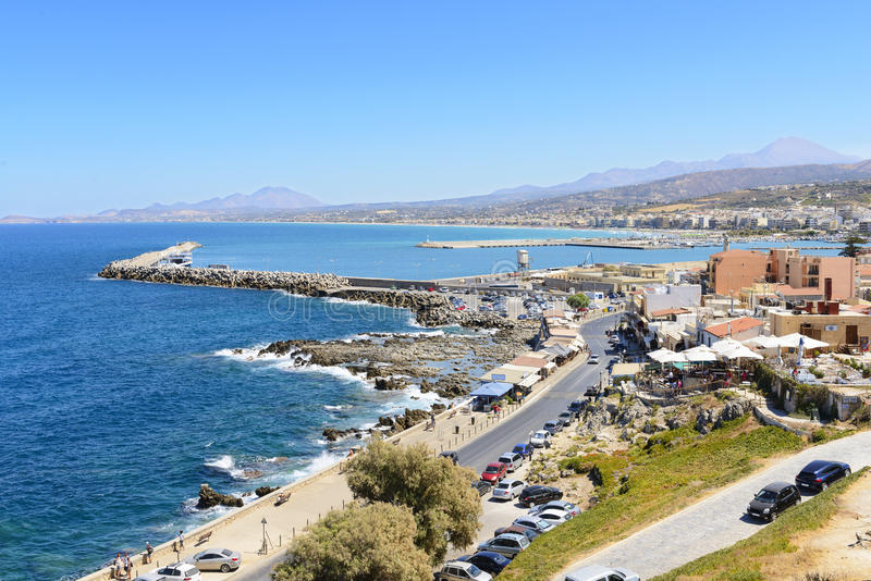 View on harbor of Rethymno town from fortress Fortezza. Crete. Greece royalty free stock image