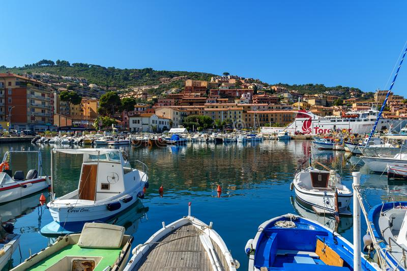 View of harbor seafront in seaport town Porto Santo Stefano in Monte Argentario. Tuscany. Italy royalty free stock photo