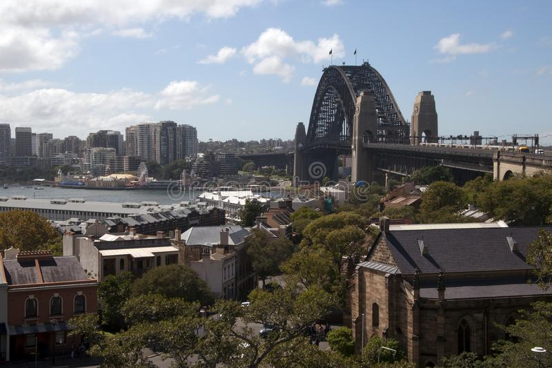 View of the Harbour bridge from Observatory Hill royalty free stock image