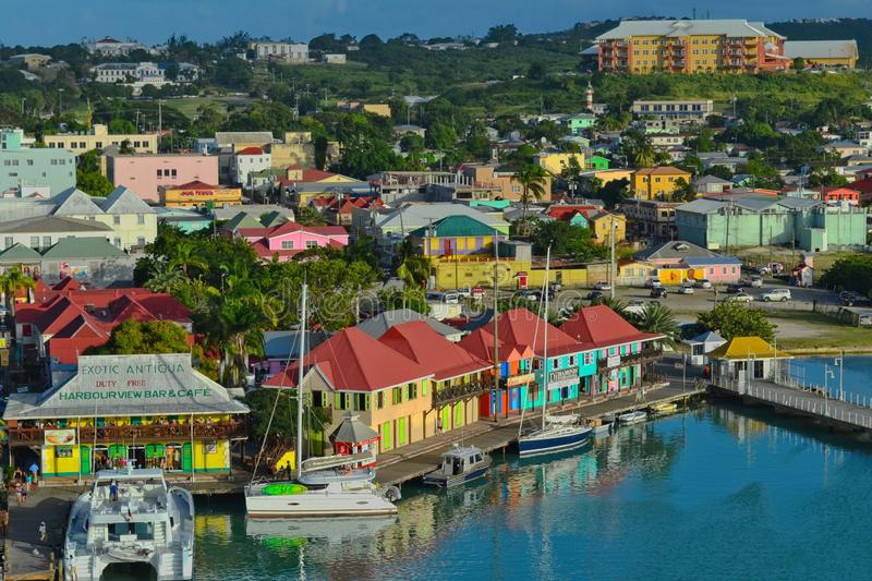 St.John`s, Antigua - January 8, 2015: View of the harbour in St.John`s stock images