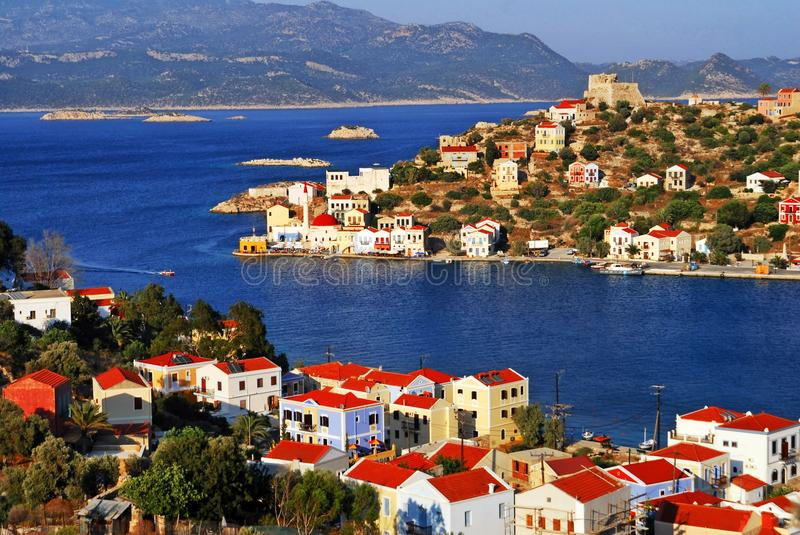 Kastellorizo town, Kastellorizo island, Dodecanese islands, Greece. View of the harbour of the town of Kastelorizo, Kastelorizo island, Dodecanese islands royalty free stock photography