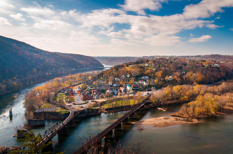 View of Harper's Ferry and the Potomac RIver from Maryland Heigh stock photos