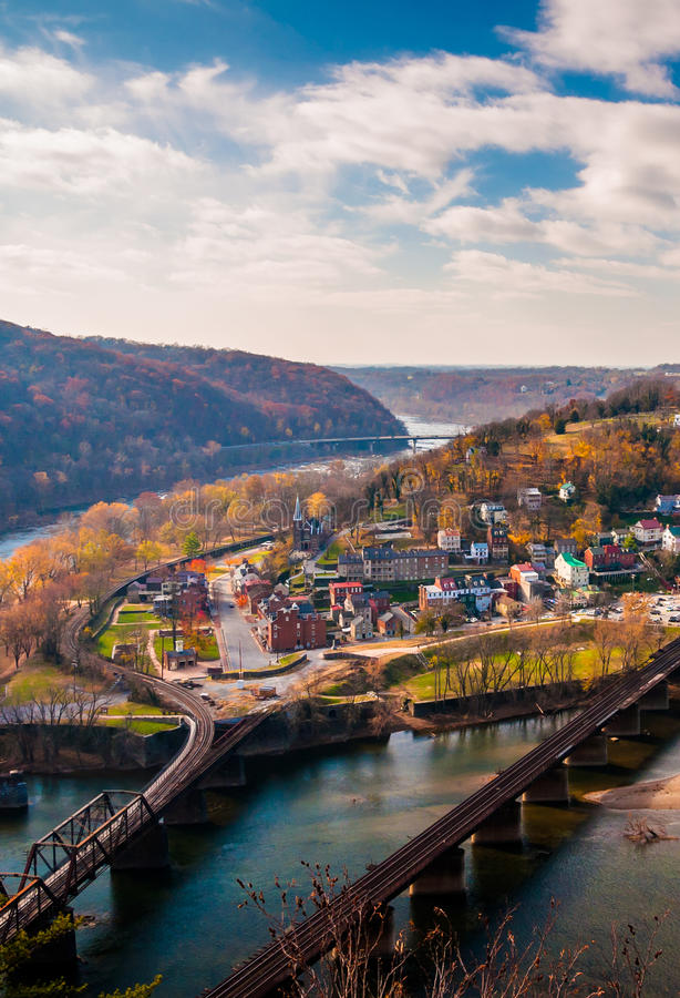 View of Harper's Ferry and the Potomac RIver from Maryland Heigh royalty free stock photography