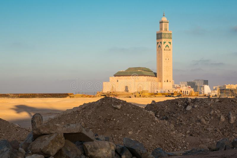 View of Hassan II mosque from a construction site royalty free stock images