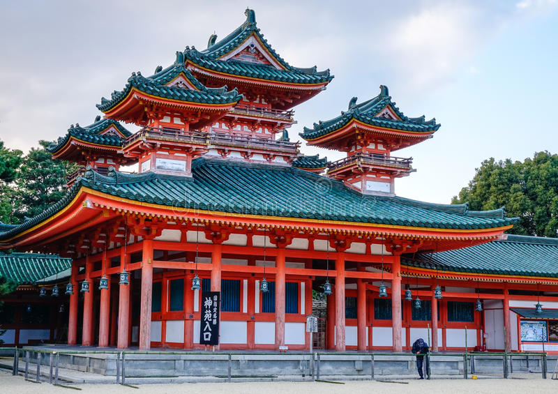 View of the Heian Shrine in Kyoto, Japan stock images