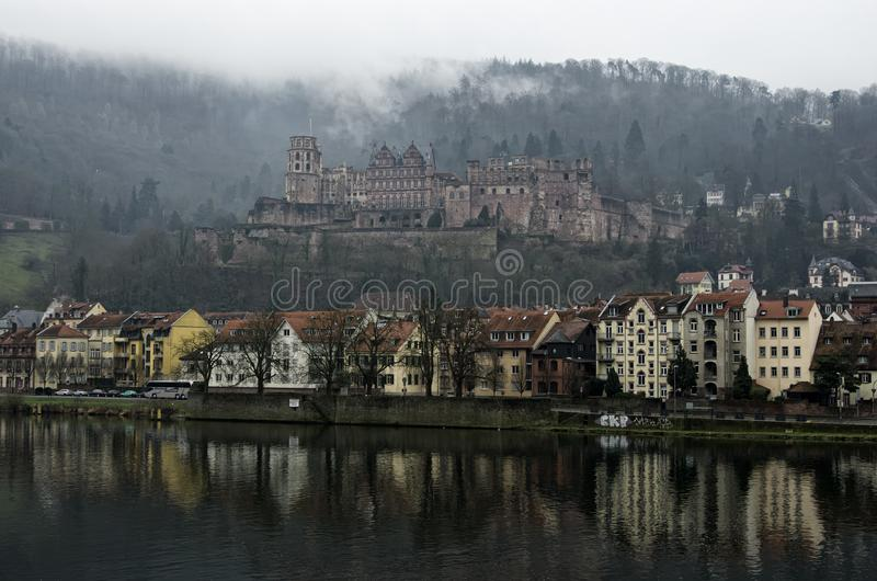 View of the Heidelberg Castle at a foggy day, Heidelberg, Germany stock photos