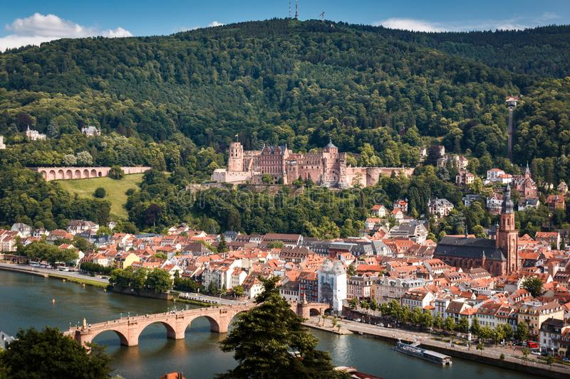 Ascent to the Philosophers` Way with a view of the Heidelberg Castle and the Old Bridge, Heidelberg, Baden-Wuerttemberg, Germany. View of the heidelberger castle stock photography