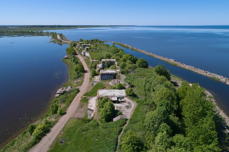 A view from the height of the artillery positions of the 1st Northern Battery 1st Northern Fort. Kronstadt. A view from the height of the artillery positions of royalty free stock photography