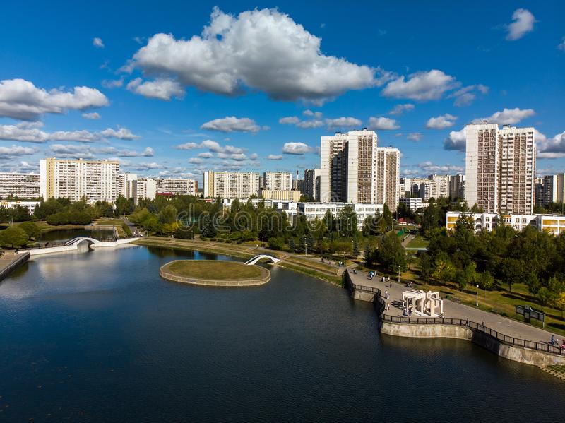 view from height of city pond and houses in Zelenograd in Moscow, Russia stock images