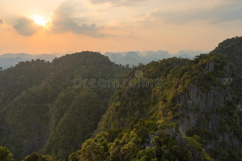 View from the height on mountain and hills in Thailand is covered by tropical greenery stock images