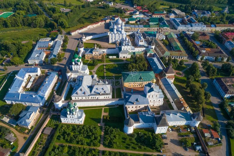 A view from the height of the Rostov Kremlin aerial survey. Golden ring of Russia stock photography