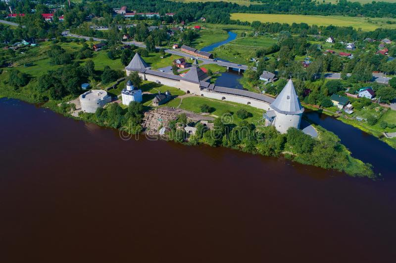 A view from the height of the Staraya Ladoga Fortress aerial photography. Leningrad region royalty free stock photo