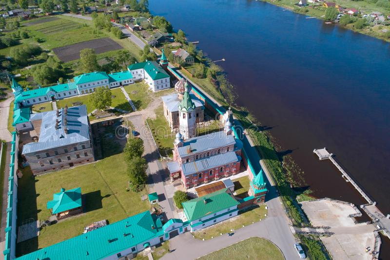 A view from the height of the Staraya Ladoga Nikolsky monastery aerial photography. Staraya Ladoga stock photography