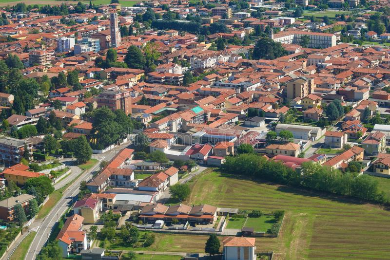 A view from the height of the suburbs of Milan, sunny day. Italy stock photo