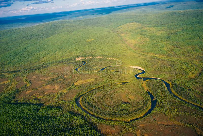 View from a height of taiga with a river. In siberia stock image