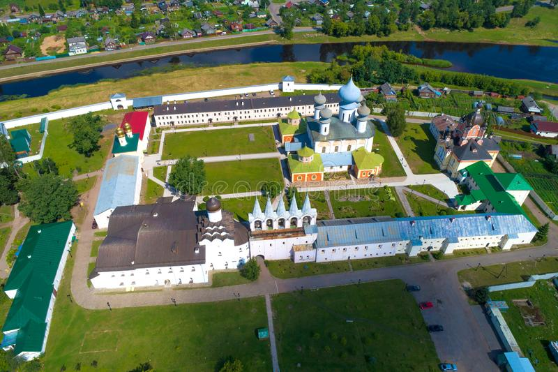 A view from the height of the temples of the Tikhvin Assumption Monastery aerial photography. Tikhvin, Russi stock images
