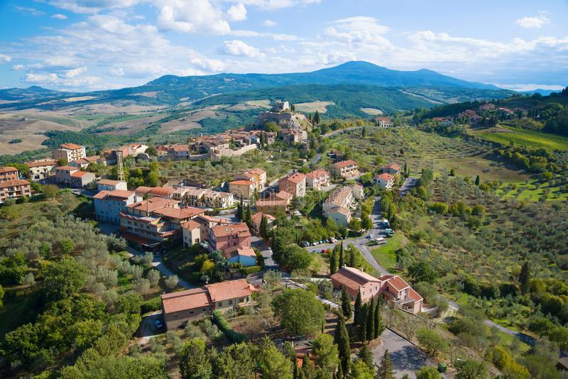 A view from the height of the town Castiglione d`Orcia. Tuscany, Italy stock photo