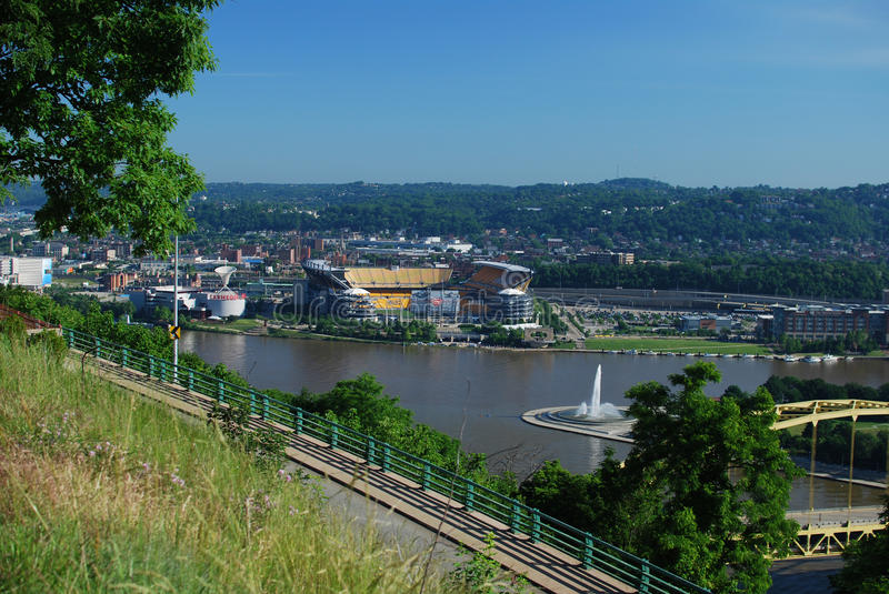 View of Heinz Field and three rivers in Pittsburgh royalty free stock image