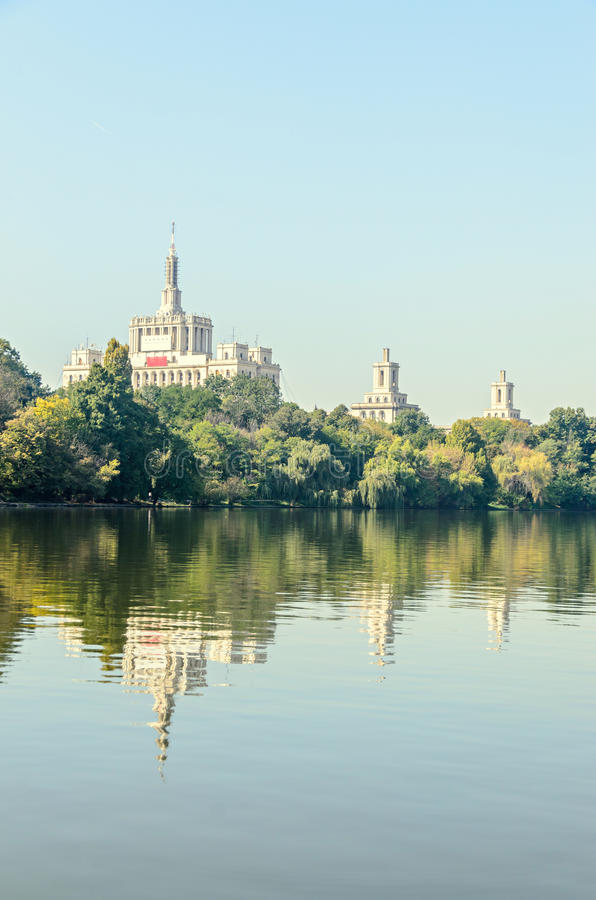 View from Herastrau Park of House of the Free Press. Casa Presei Libere, boat on the lake stock photography