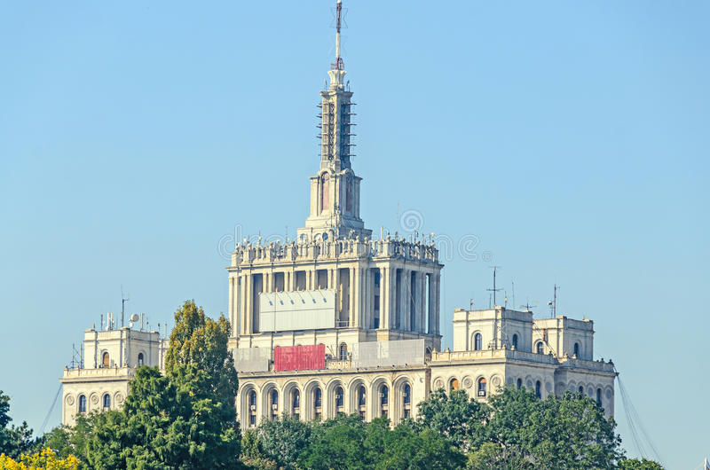 View from Herastrau Park of House of the Free Press. Casa Presei Libere, boat on the lake stock image
