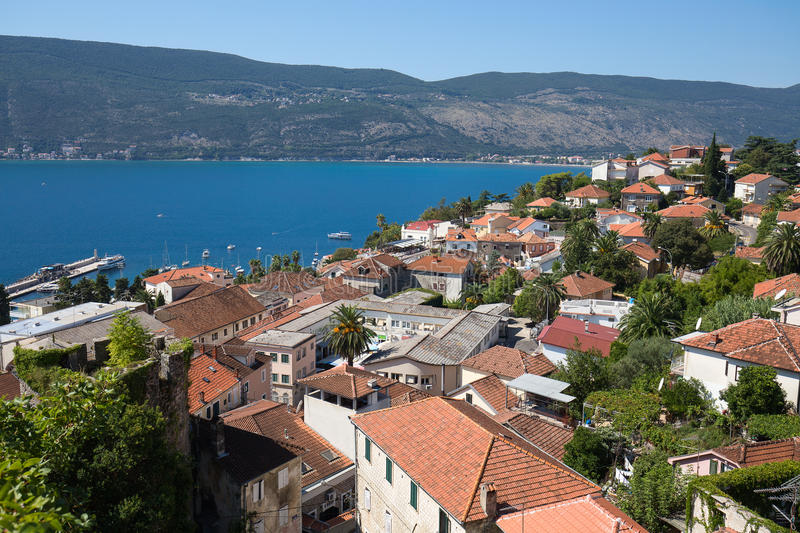 View on Herceg Novi old town in Montenegro stock image