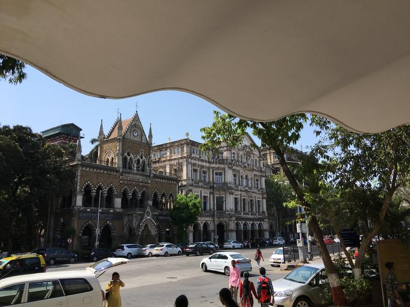 View of heritage building from foyer of jehangir art gallery kalaghoda royalty free stock image