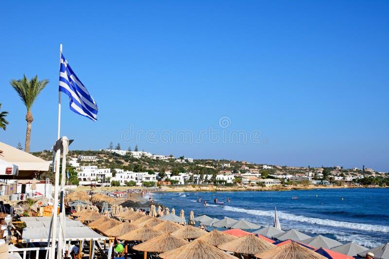 View of Hersonissos beach, Crete. royalty free stock photo