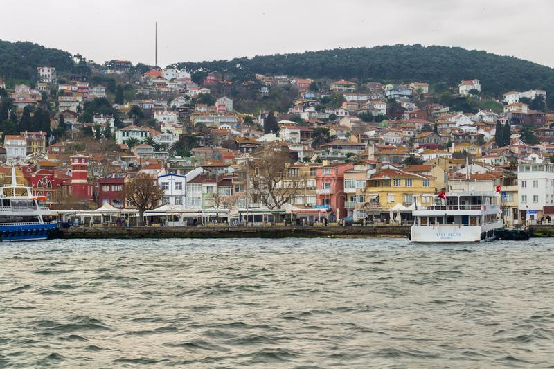 View of Heybeliada island from the Sea of Marmara, near Istanbul, Turkey. Istanbul, Turkey - March 3, 2013: View of Heybeliada island from the sea with summer stock image