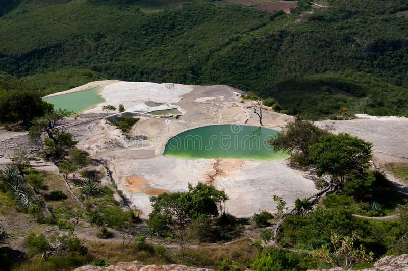 VIEW OF HIERVE EL AGUA. Hierve el agua is set of natural rock formations in the Mexican state of Oaxaca that resemble cascades of calcium and water stock photo