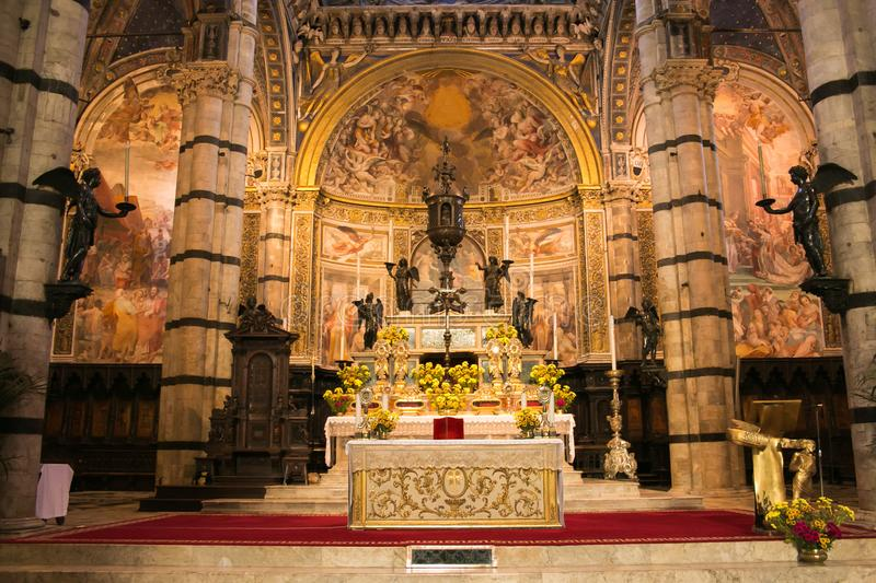 High Altar created in 1532 in the Cathedral of Siena, Tuscany, Italy stock image