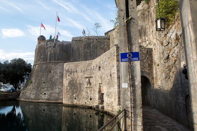 View of the high fortress wall in Kotor royalty free stock image