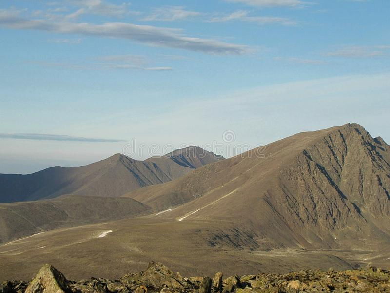 View from a high mountain in the tundra. royalty free stock photo