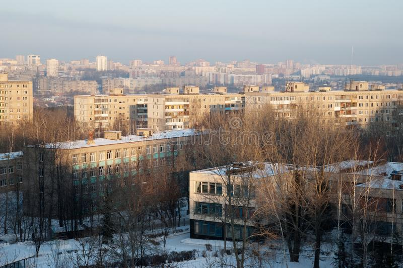 View from a high point on Kindergatden daycare, school and the city of Ufa Russia. royalty free stock photography