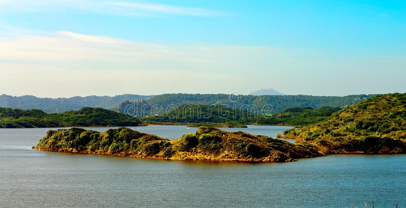 Nature Reserve Albufera des Grau. View from High Point on Nature Reserve Albufera des Grau Outdoors. Menorca, Balearic Islands, Spain stock photography