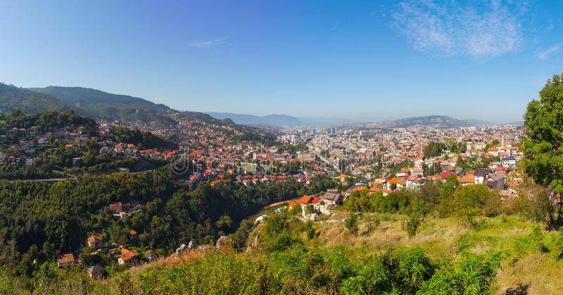 View from the high point to Sarajevo  in the morning. Bosnia and Herzegovina.  stock photography