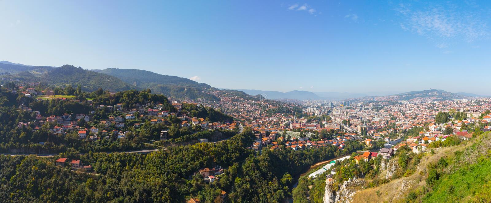 View from the high point to Sarajevo  in the morning. Bosnia and Herzegovina.  stock photos