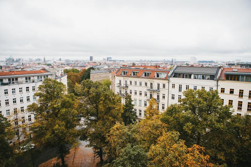View from high point to the street with buildings with trees in Berlin in Germany. Architecture of the big city. stock photography