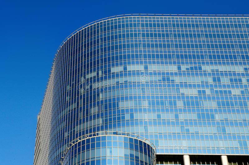 View of the high-rise business center. On a background of blue sky stock image