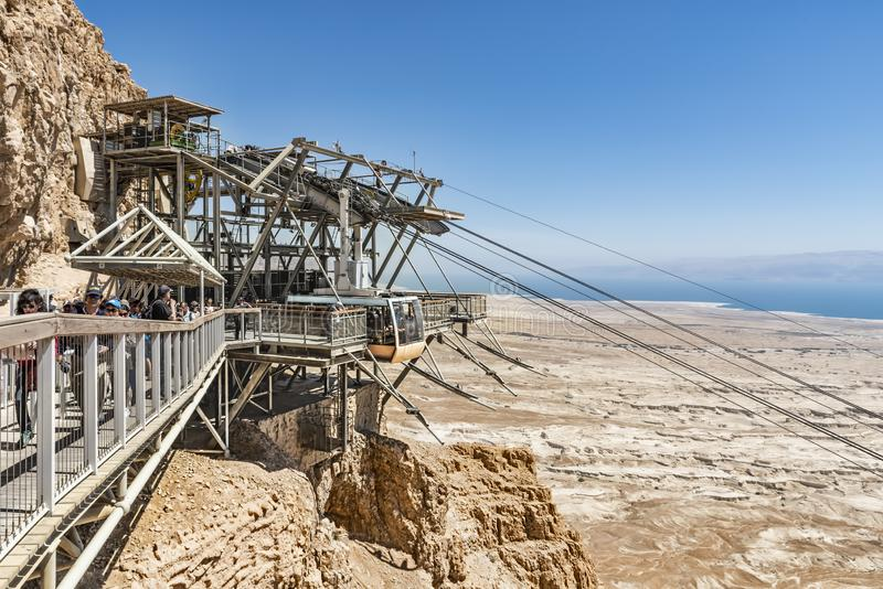 View from a high view of the landscape around the Dead Sea, the parking place in the desert and the starting station of the cable royalty free stock photos