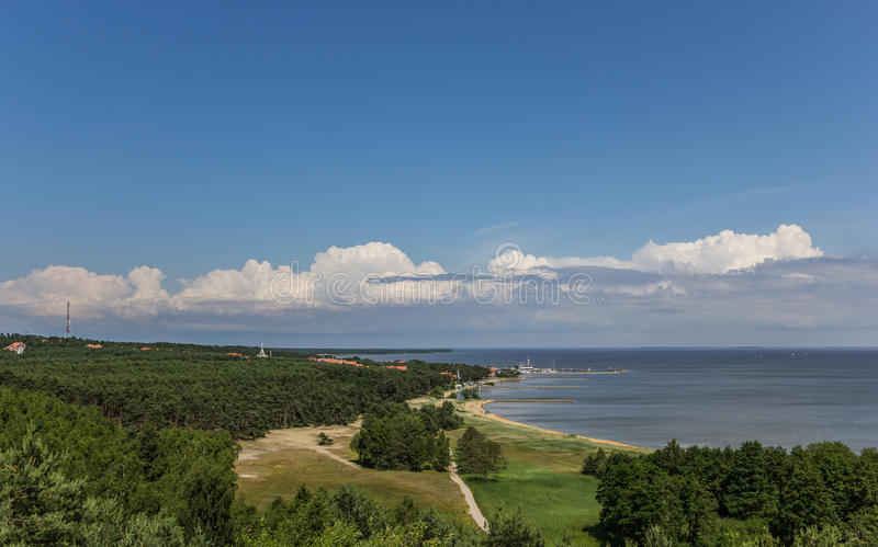 View from the highest dune over the curonian Spit. Lithuania stock images