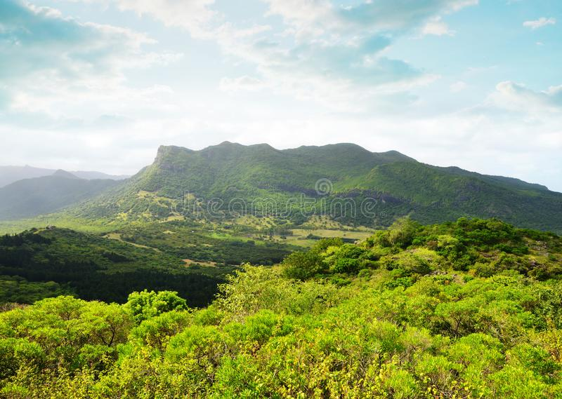View on the highest mountain of Mauritius island  Piton de la petite riviere noire royalty free stock photos