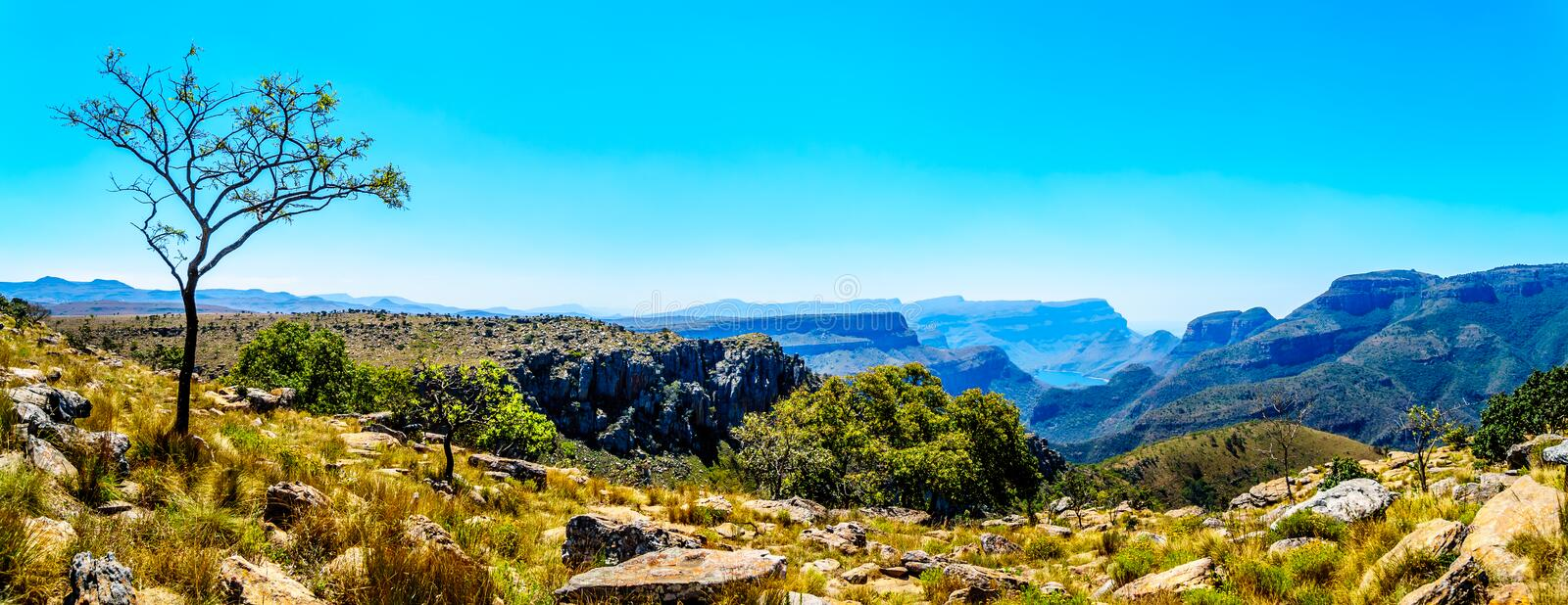 View of the highveld and the Blyde River Canyon along the Panorama Route stock photos