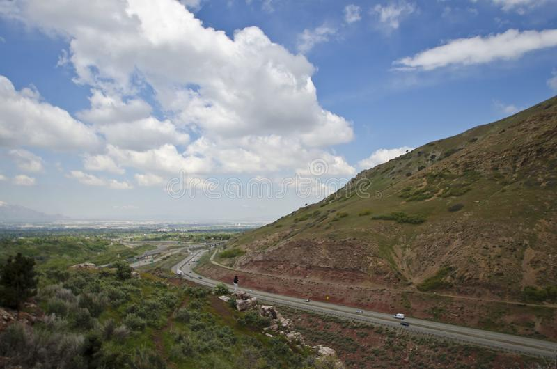 Coming out of parleys canyon. A view of the highway coming out of parleys canyon heading into the salt lake city valley stock photography