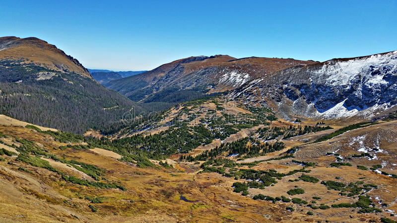 View from Highway 34, Rocky Mountain National Park. Gorgeous view from highway 34 in Rocky Mountain National Park, Colorado stock images